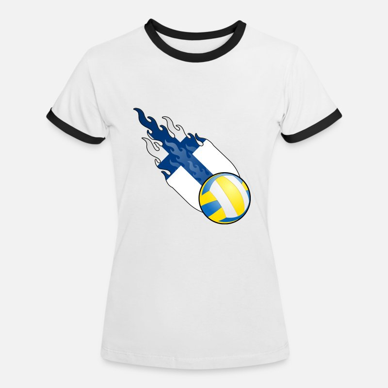Record Champion T-Shirts - Fireball Volleyball Finland - Women's Ringer T-Shirt white/black