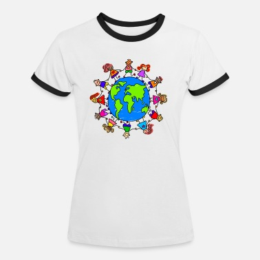 Holding Happy Children Holding Hands Around the World - Women's Ringer T-Shirt