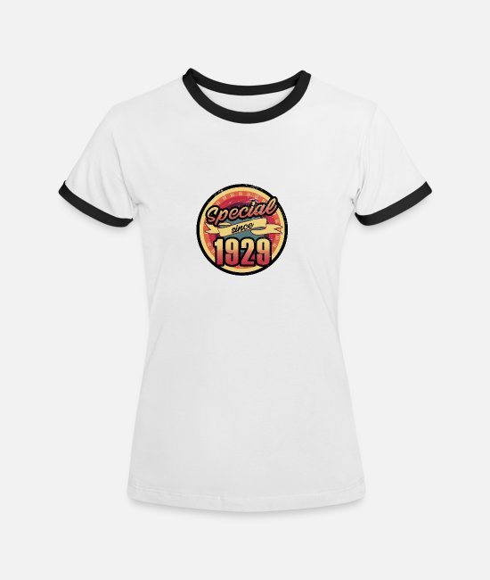 Christmas T-Shirts - Gift for the 88th birthday - vintage 1929 - Women's Ringer T-Shirt white/black