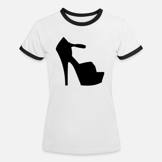 Woman Power T-Shirts - Vector highheels Silhouette - Women's Ringer T-Shirt white/black