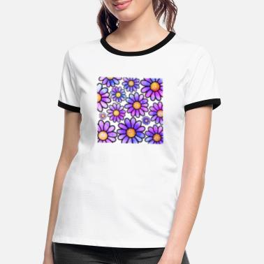 Funky Purple Doodle Flowers Funky Retro Pattern - Women's Ringer T-Shirt