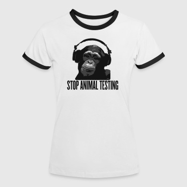 Tierschutz DJ MONKEY stop animal testing by wam - Frauen Kontrast-T-Shirt