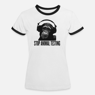 Tierschutz DJ MONKEY stop animal testing by wam - Frauen Ringer T-Shirt