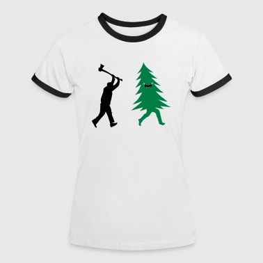 Funny Christmas tree is chased by  Lumberjack - Women's Ringer T-Shirt