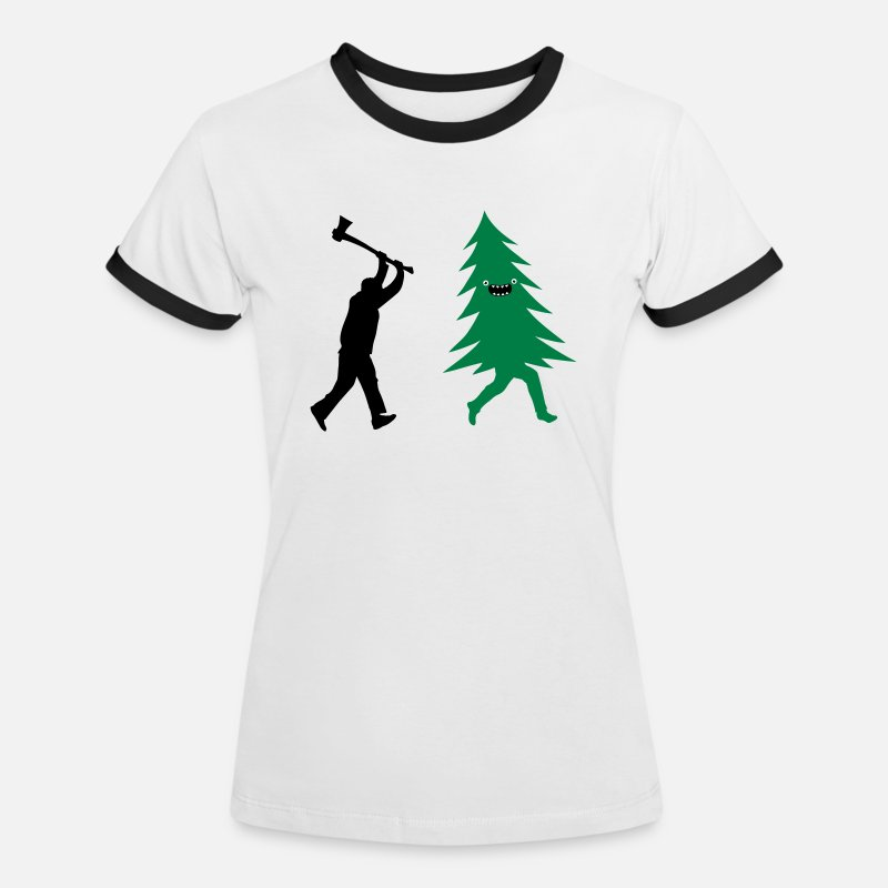 Christmas T-Shirts - Funny Christmas tree is chased by  Lumberjack - Women's Ringer T-Shirt white/black