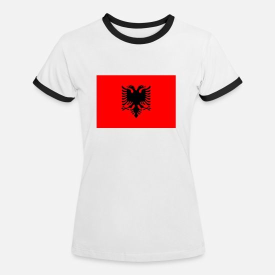 Flag T-Shirts - Albania - Women's Ringer T-Shirt white/black