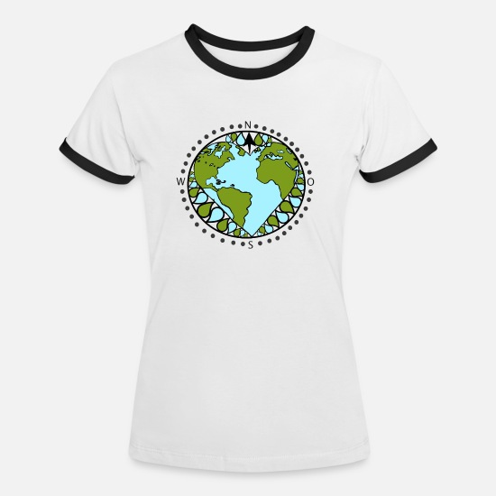 Love T-Shirts - Love the earth - Women's Ringer T-Shirt white/black