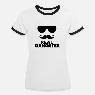Brillenschlange REAL GANGSTER cool Logo Black Brille Bart - Frauen Ringer T-Shirt