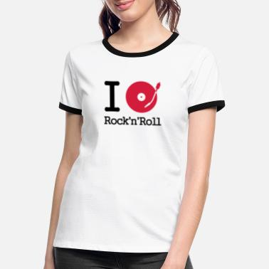 Mono I dj / play / listen to rock & roll - Camiseta contraste mujer