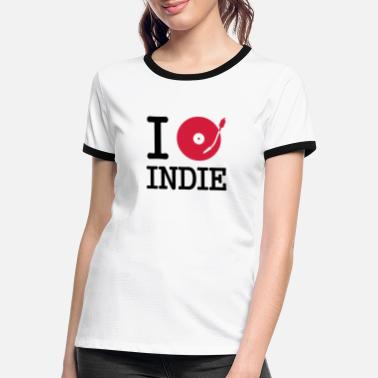 Indie i dj / play / listen to indie - T-shirt contrasté Femme
