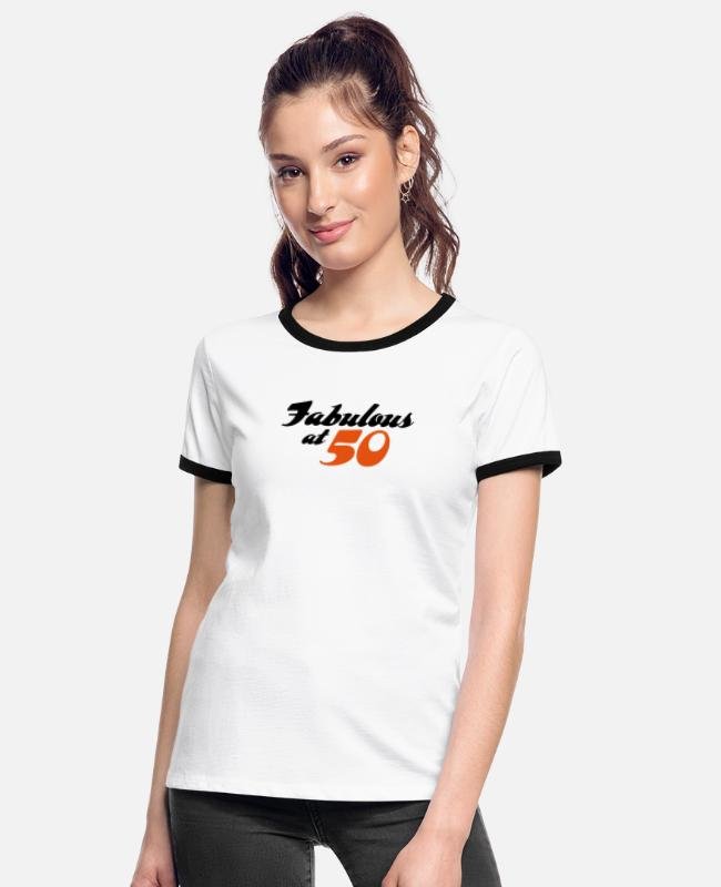 Wit T-Shirts - 50 years old and fabulous! - Women's Ringer T-Shirt white/black