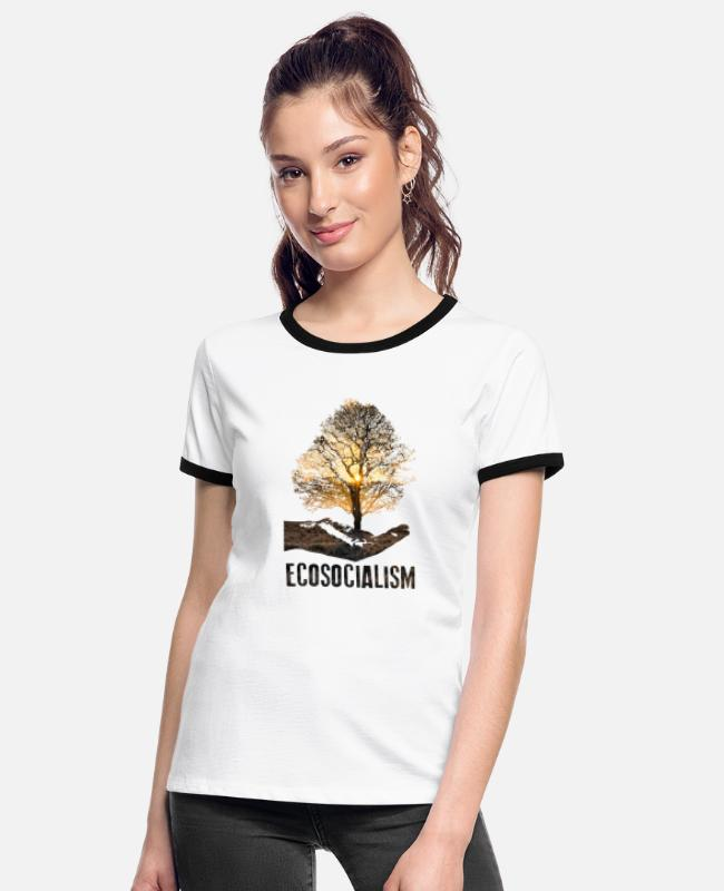 Nature T-Shirts - Ecosocialism - Women's Ringer T-Shirt white/black