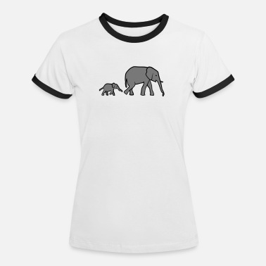 Elephant Elephant mother and baby - Kontrast T-shirt dam