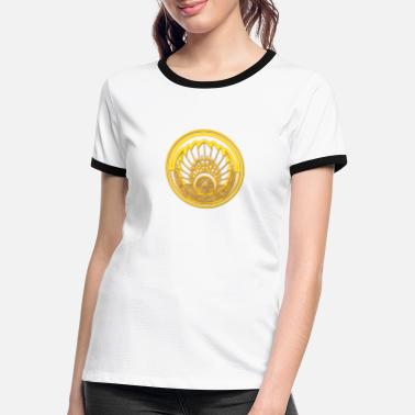 Circle Mayan mask, crop circle, Quetzalcoatl, indians - Women's Ringer T-Shirt