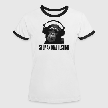 DJ MONKEY stop animal testing by wam - Frauen Kontrast-T-Shirt