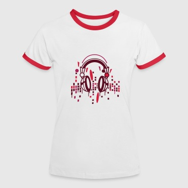 headphones - Kontrast-T-shirt dam