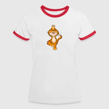 The tiger has practiced Yoga Tree and sings the OM - Women's Ringer T-Shirt