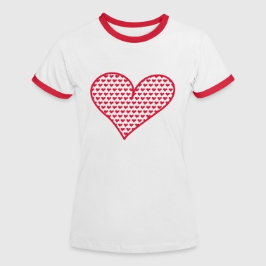 Big and Small Hearts - Vrouwen contrastshirt