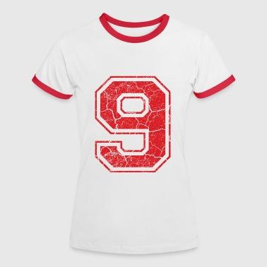 9_nine_neun_red_rot (de) - Frauen Kontrast-T-Shirt