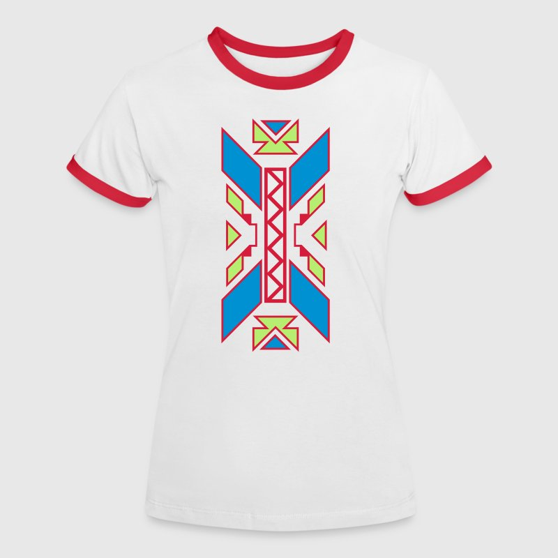 Indian Muster - Kontrast-T-shirt dam