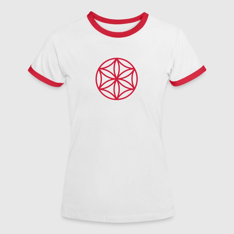 Flower of Aphrodite, c, Symbol of  love, beauty and transformation, Power Symbol, Talisman - Women's Ringer T-Shirt