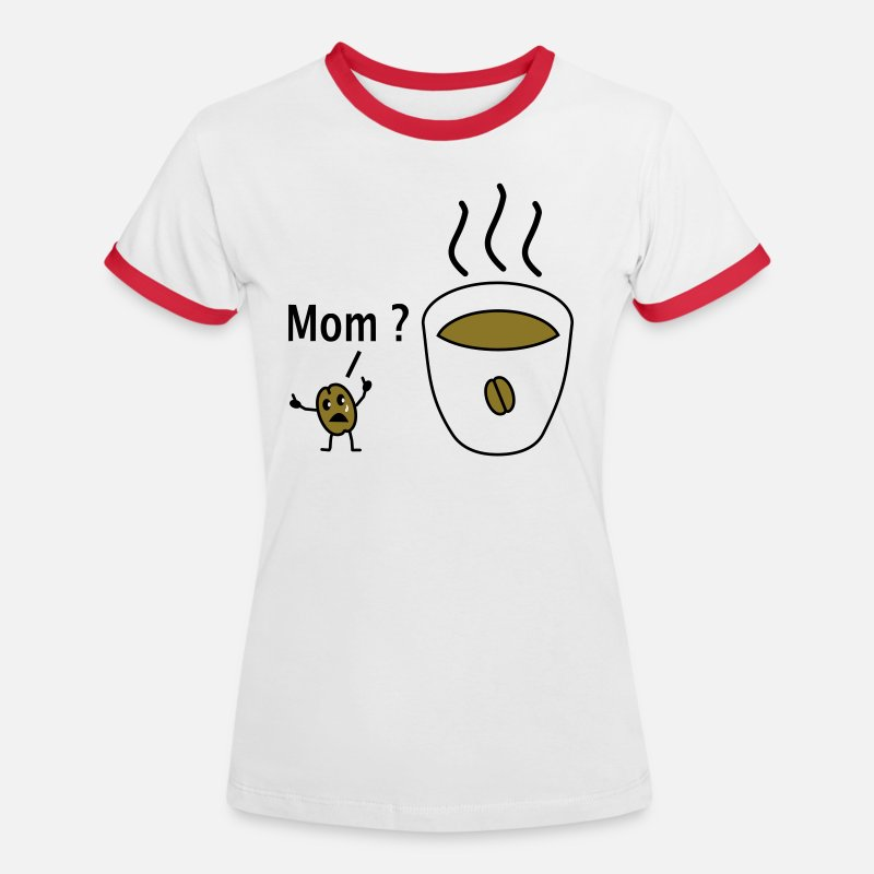 Cigarette T-Shirts - sad coffee bean - Women's Ringer T-Shirt white/red