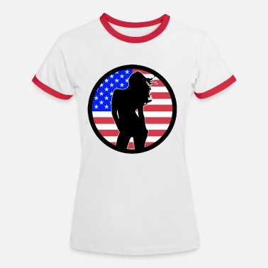Sexy Nude Girl Girls Sex Sexy Girl USA 002 - Women's Ringer T-Shirt