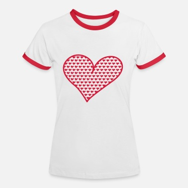 Rood Hart Big and Small Hearts - Vrouwen contrastshirt