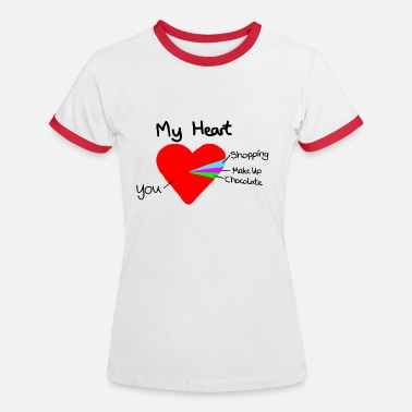 Valentines Gift heart pie chart valentines day love - Women's Ringer T-Shirt