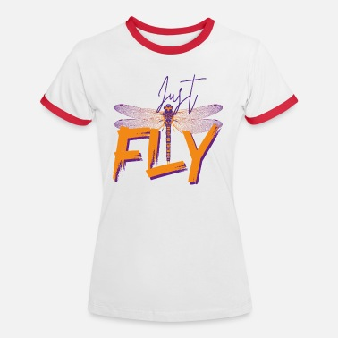 Just Fly - DRAGONFLY - Orange lilla - Kontrast T-shirt dame