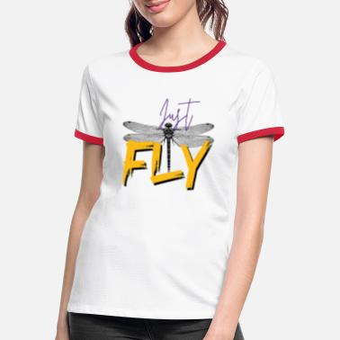 Just Fly Just FLY - DRAGONFLY - Yellow Purple - Kontrast T-shirt dam