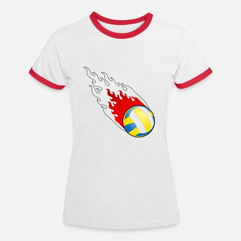 Poland T-Shirts - Fireball Volleyball Poland - Women's Ringer T-Shirt white/red