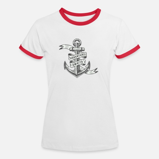 Outdoor T-Shirts - Adventure waiting - Women's Ringer T-Shirt white/red