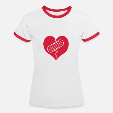 Bandaid broken heart with bandaid - Women's Ringer T-Shirt