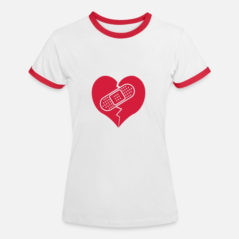 Heart T-Shirts - broken heart with bandaid - Women's Ringer T-Shirt white/red