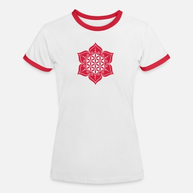 Qigong Flower of life, Lotus-Flower, vector, c, energy symbol, healing symbol - Women's Ringer T-Shirt