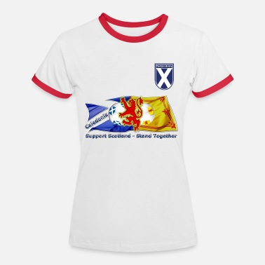Lion Rampant Designs Saltire and Lion Rampant Tartan Army - Women's Ringer T-Shirt