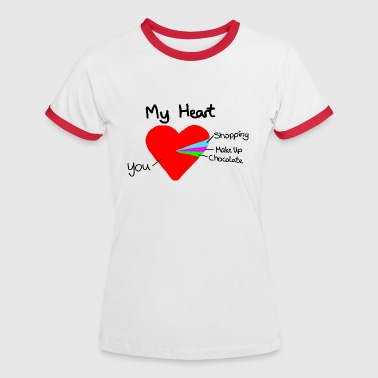 heart pie chart valentines day love - Women's Ringer T-Shirt