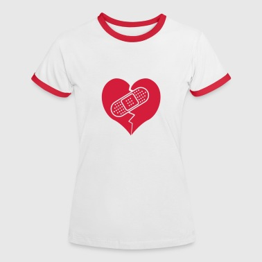 broken heart with bandaid - Women's Ringer T-Shirt