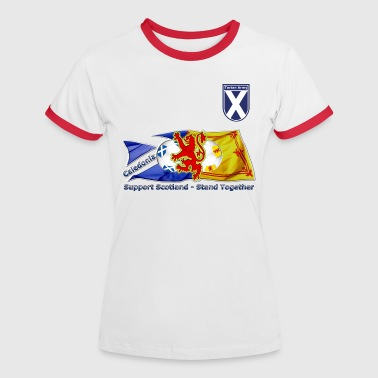 Saltire and Lion Rampant Tartan Army - Women's Ringer T-Shirt