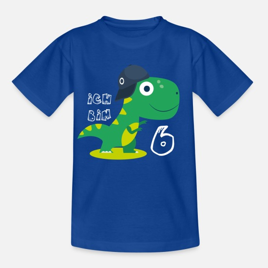 Six T-shirts - J'ai six ans - Dino - T-shirt Enfant bleu royal