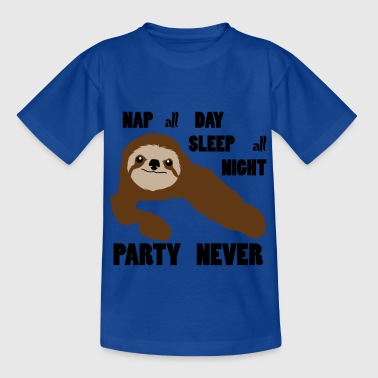 Sloth Only Sleep Party Never - Børne-T-shirt
