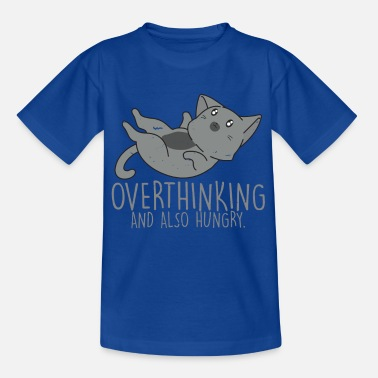 Hipster Overthinking And So Hungry Cat T-Shirt - T-shirt til børn