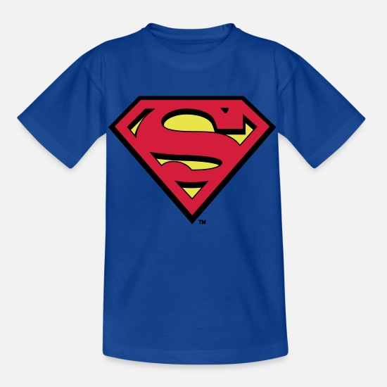 Nerd T-Shirts - Superman S-Shield in Flex T-Shirt für Kinder  - Kinder T-Shirt Royalblau