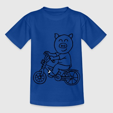 Pig is riding a bicycle - Kids' T-Shirt