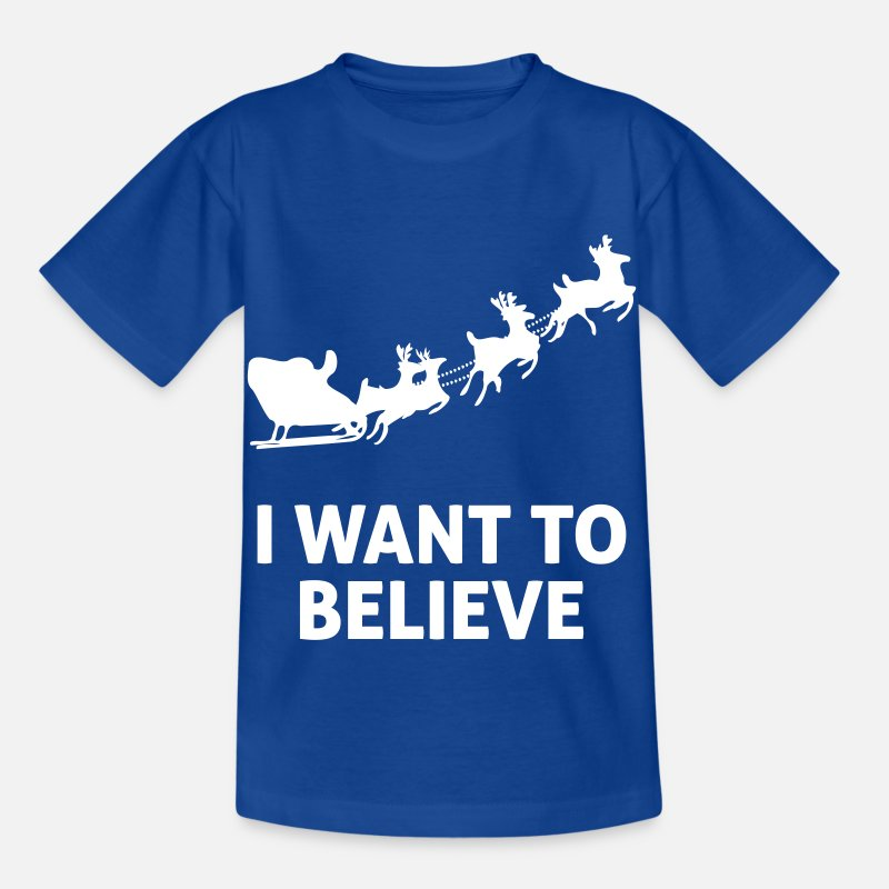 Ren T-shirts - I Want To Believe In Santa Claus - T-shirt barn kungsblå