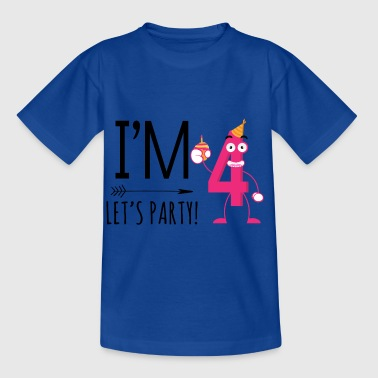 Ich bin Four.Let's Party! Vierte Geburtstagsparty - Kinder T-Shirt