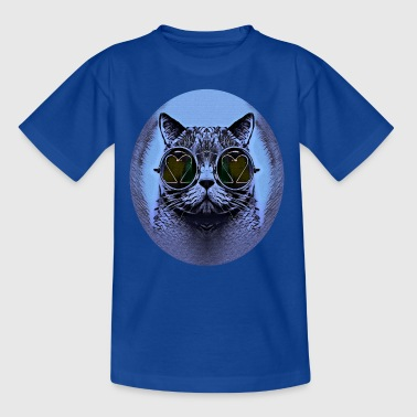 FUNNY CAT BLUE - Kinder T-Shirt