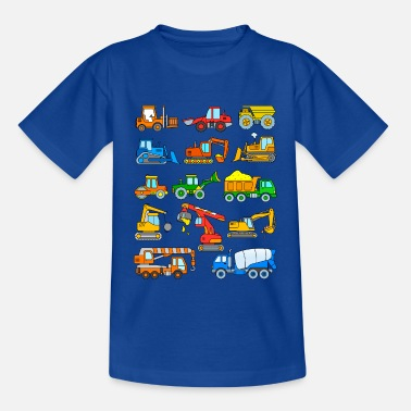 Mixer Excavator vehicles construction site - Kids' T-Shirt