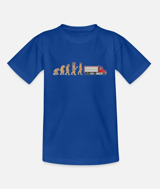 Pilot T-Shirts - Funny Truck Driver Evolution Logistics Truck Gift - Kids' T-Shirt royal blue